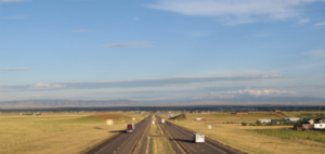 The backdrop for Laramie Project: a highway