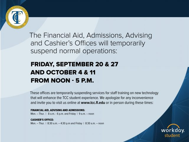 Temporarily Suspending Services: Sept 20, 27, Oct 4 and 11.
